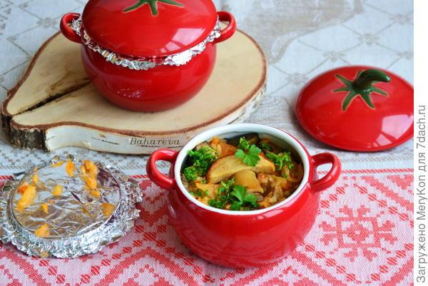 Овощное рагу с рисом и по желанию с грибами