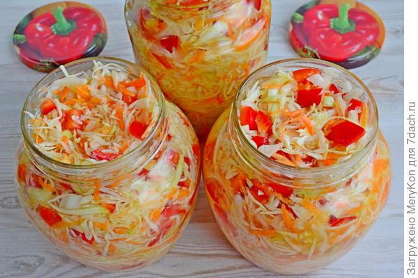 Салат из капусты, перца и моркови на зиму. Пошаговый рецепт с фото