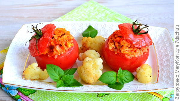 Фаршированные томаты с рисом и куриным фаршем - пошаговый рецепт приготовления с фото
