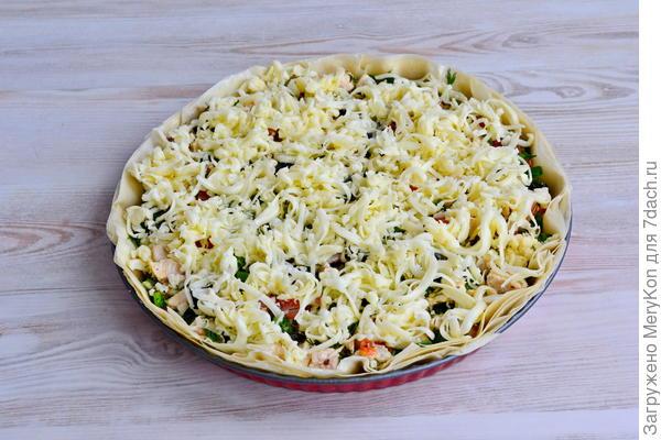 Открытый пирог (киш) с курицей, зеленью и сыром - пошаговый рецепт приготовления с фото