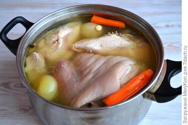 Холодец из курицы и свинины к празднику. Пошаговый рецепт с фото