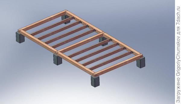 Основание бетонные столбики и брус 150