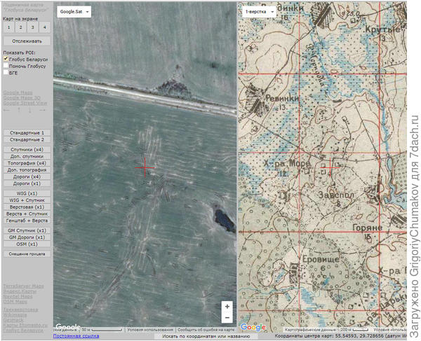 Вид со спутника сейчас и старая карта Белоруссии