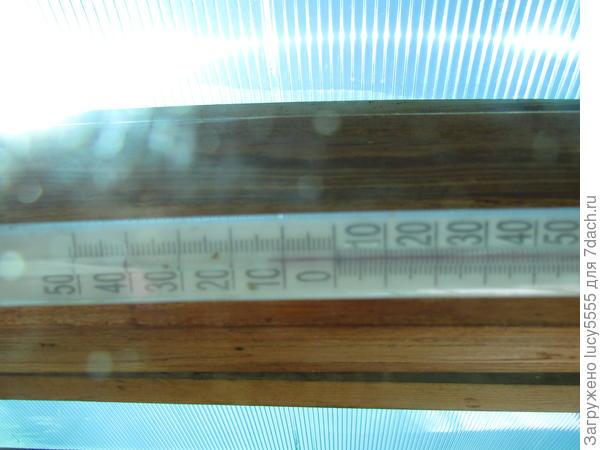 Термометр на балке веранды. +14