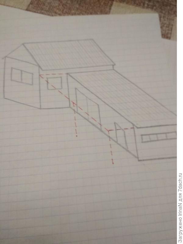 Вот не умею я красиво нарисовать, но схематично навес задумывался в таком виде.  Источник: https://7dach.ru/IrinaN/kakoy-variant-navesa-vybrat-170858.html#comment660777