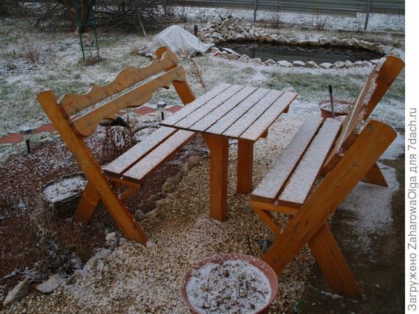 Лавочки возле дома в снегу,а так хочется,чтобы уже можно было за этим столиком