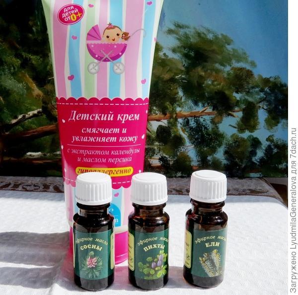 Несколько капель хвойного масла, добавленные в детский крем, делают его лечебным (особенно, когда появились проблемы с суставами)