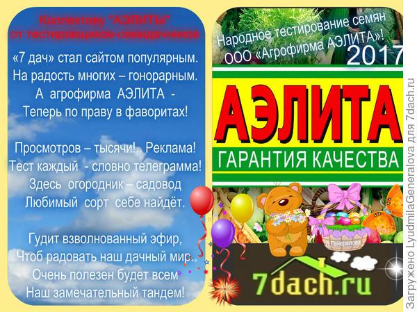 """Поздравление коллективу  ООО """"АЭЛИТА"""" от тестировщиков-семидачников"""