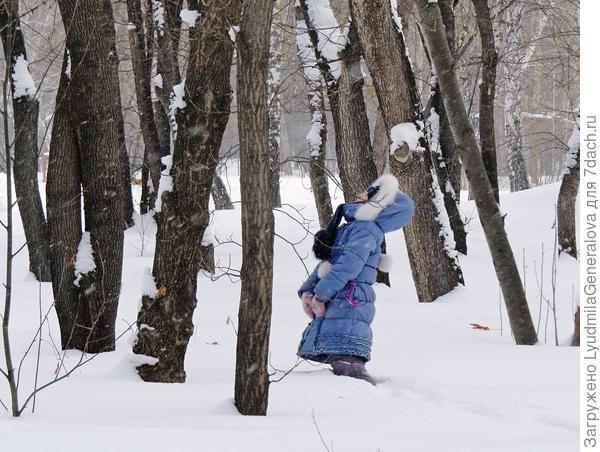 Детей не пугает глубина снежного покрова. Они прекрасно себя чувствуют в этой среде.  Ведь в лесу столько интресного: и белки, и дятлы, а уж сколько следов....