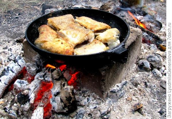 Рыба жарится. Ароматом дразнится. Для любителей остренького прихватили аджику, горчицу и хрен.