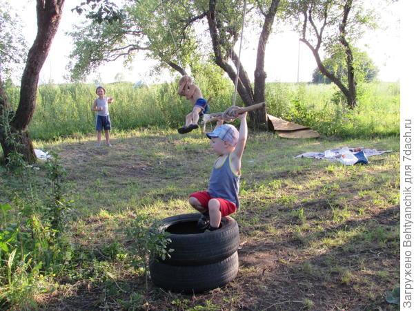 В яблоневом саду повесили тарзанки - детишкам на радость.