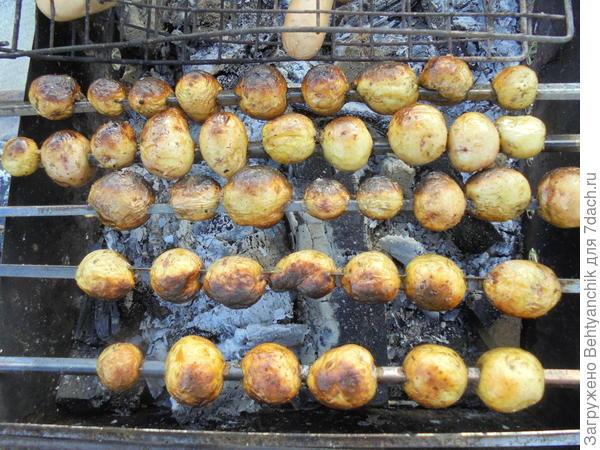 Нанизали на шампура.. Картошка готовится
