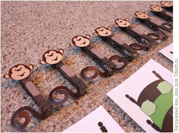 Прищепки-обезьяны. Фото с сайта www.pinterest.com