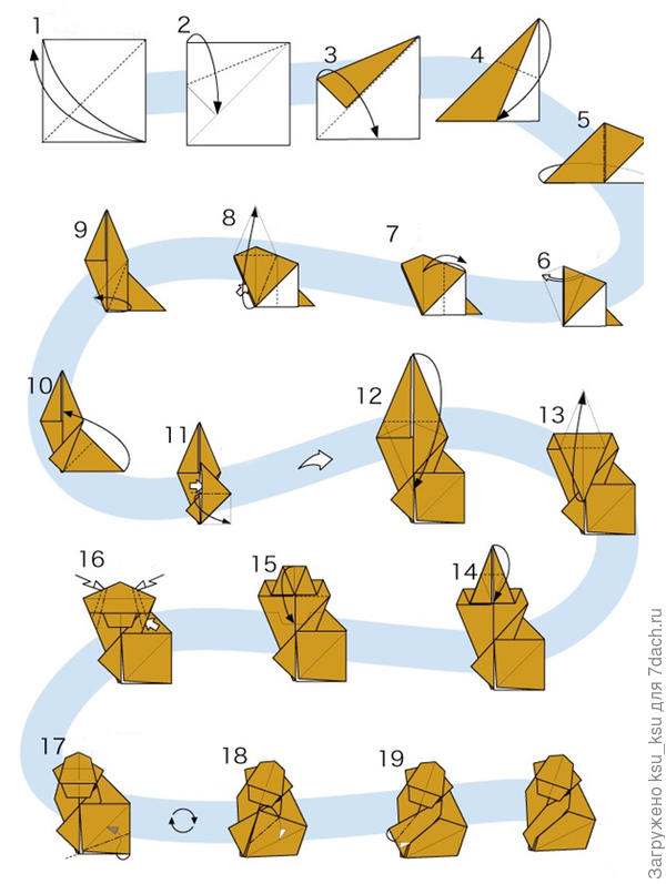 Инструкция по изготовлению обезьяны-оригами. Фото с сайта how-to-origami.com