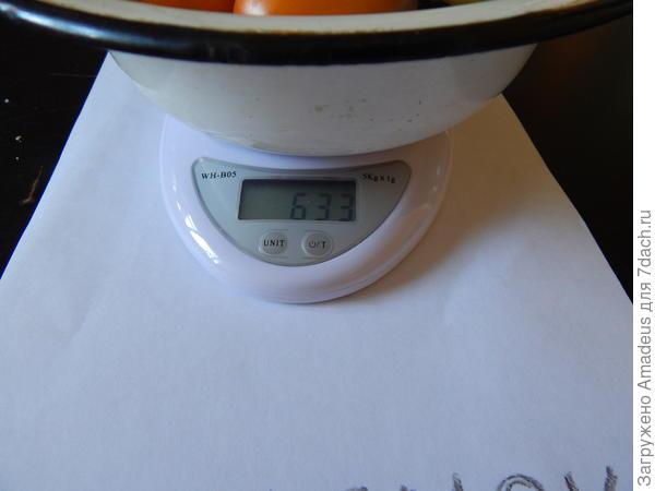 Вес 4 плодов 633 г - тара 240 г = 393 г