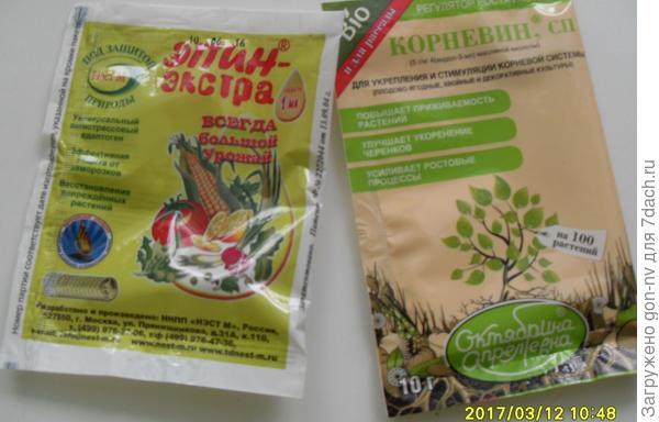 Очень хотелось замочить семена в стимулирующем растворе. Для этой цели приобрела пакетики «Корневин» и «Эпин-экстра».