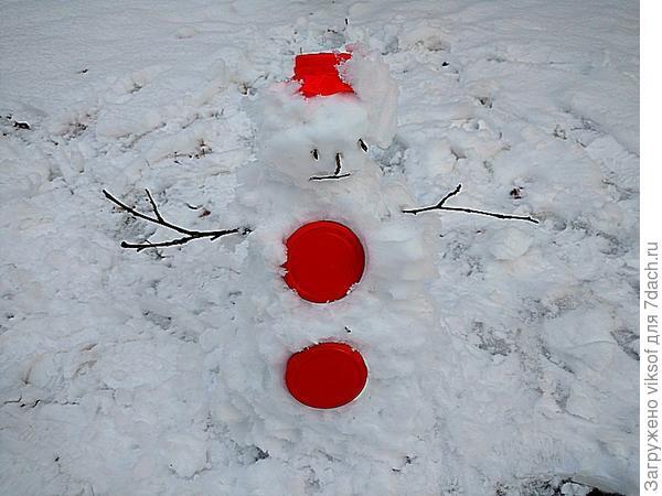 Снеговик-невидимка, остались только шапка и пуговицы
