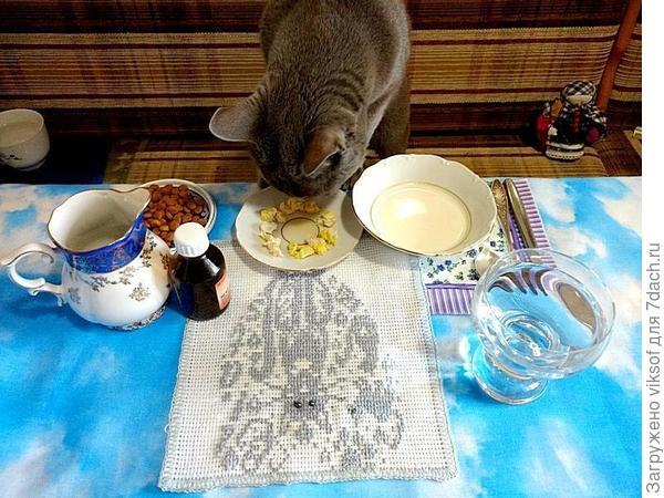 Витас с утра за праздничным столом (фото с прошлого года), но в этом году угощение было не хуже, просто сбежал, не дал сфотографироваться