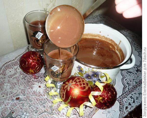 Разлить шоколад в чашки