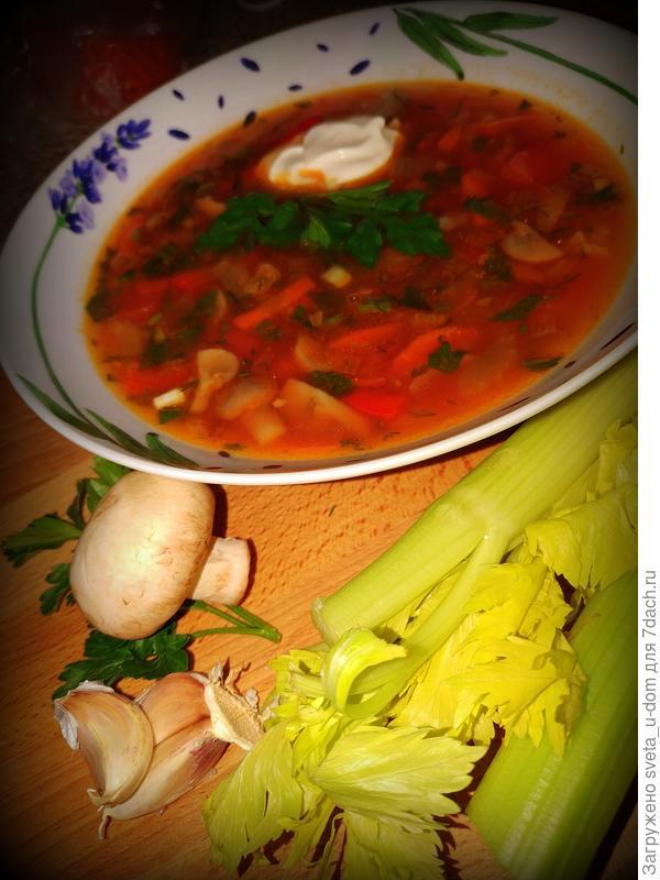 суп с шампиньонами и сельдереем