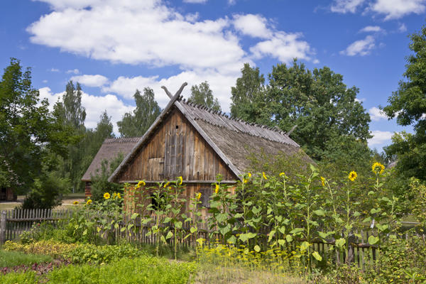 Сельский дом с крышей из натуральных материалов