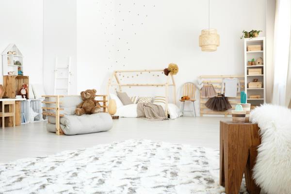 Диван-футон в интерьере детской комнаты в скандинавском стиле