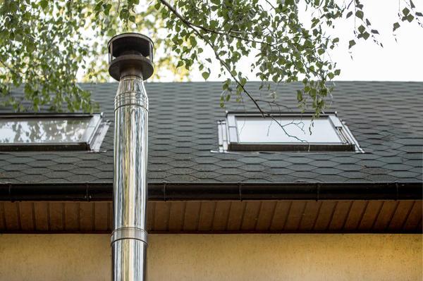 Труба дымохода, проходящая по наружной стене дома