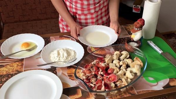 Ингредиенты для приготовления сыроежек в кляре