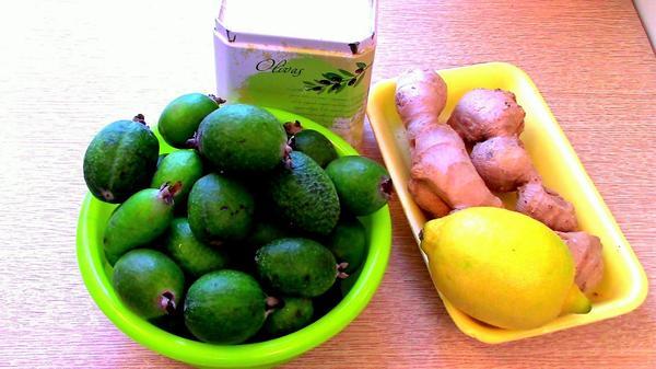 Ингредиенты для джема их фейхоа с имбирём и лимоном