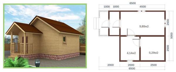 Проект дачного домика 6,5х5 м. Фото с сайта royalsteel.ru