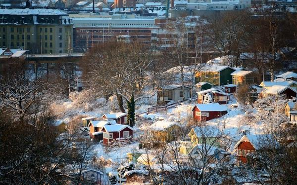 Зимняя панорама дач в садоводстве Tanto Södra, Стокгольм. Фото с сайта panoramio.com