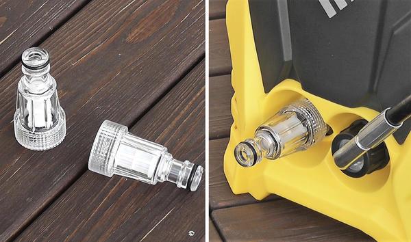 Не забудьте установить фильтр тонкой очистки при подключении шланга к источнику воды