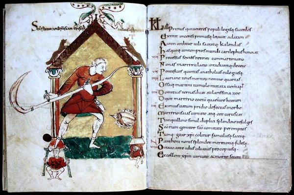 Миниатюра с изображением косаря из календаря Вандельберта Прюмского. Фото с сайта ru.wikipedia.org