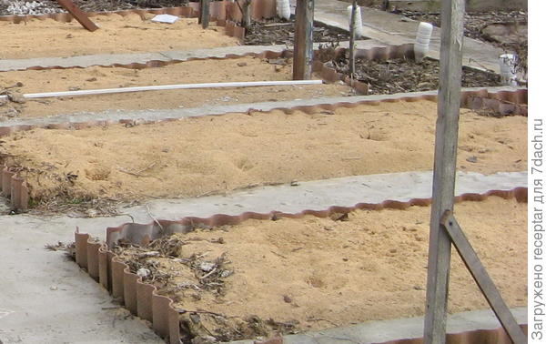 Шифер с одной стороны, т.к участок имеет уклон. На зиму засыпали опилками пролитыми мин. удобрением.
