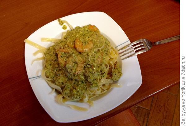 Так как вино итальянское, то и  подаём со спагетти