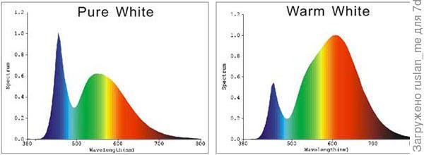 светодиодный спектр: слева -  чистый(холодный) белый, справа - теплый белый.
