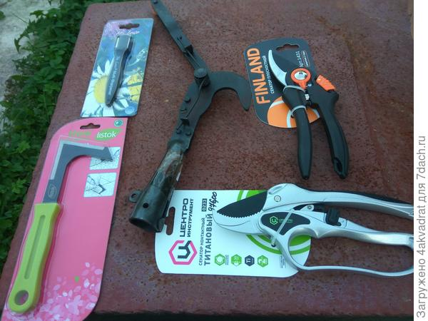 Инструменты: 2 секатора, сучкорез, нож для травы и заточка для секаторов.