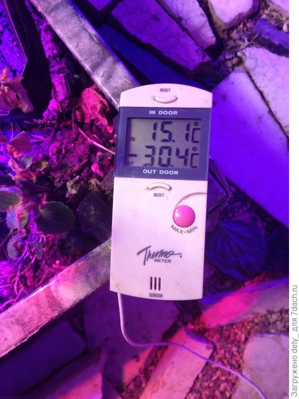 Термометр с выносным датчиком: на улице минус 30, на полу внутри - плюс 15.