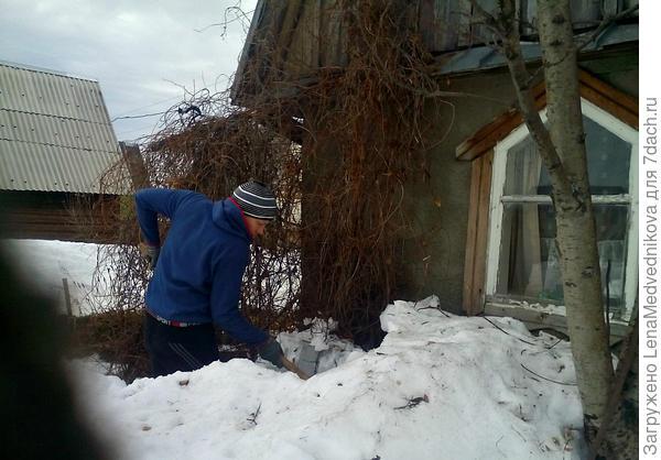 Убираем снег от дома