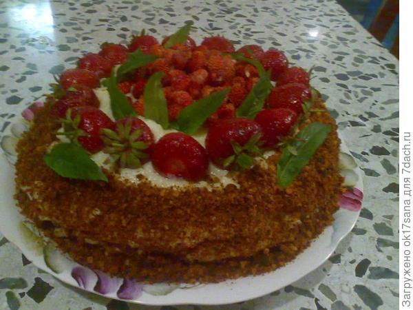 Торт с земляникой и клубникой)).