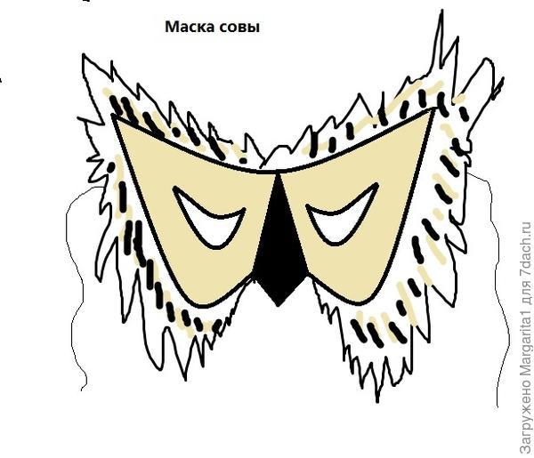 Рисуем на бумаге (ватмане) маску, раскрашиваем , вырезаем. Прикрепляем резинку.
