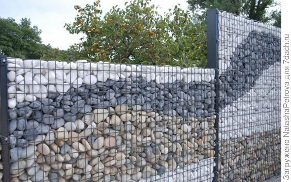 Ограждение из габионов. Фото с сайта http://kd-vint.ru/zabory/zabory-gabiony/