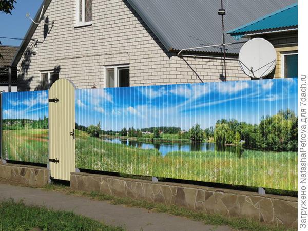 Забор с панорамным изображением из профлиста. Фото с сайта http://xn----8sbdjfn5ajhhw9jh.xn--p1ai/