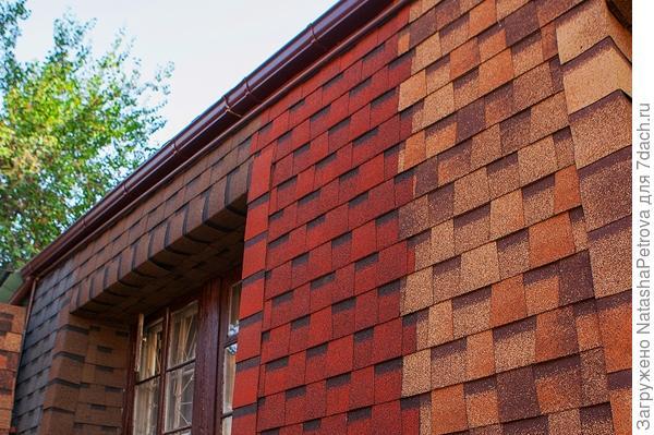 Стены, отделанные битумной черепицей. Фото с сайта http://shinglas.ru/