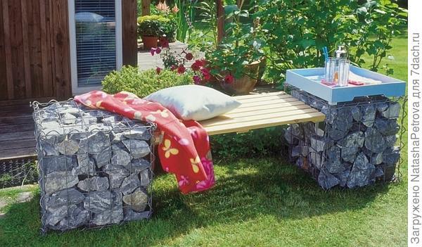 Садовая скамья с использованием габионов. Фото с сайта  http://remstd.ru