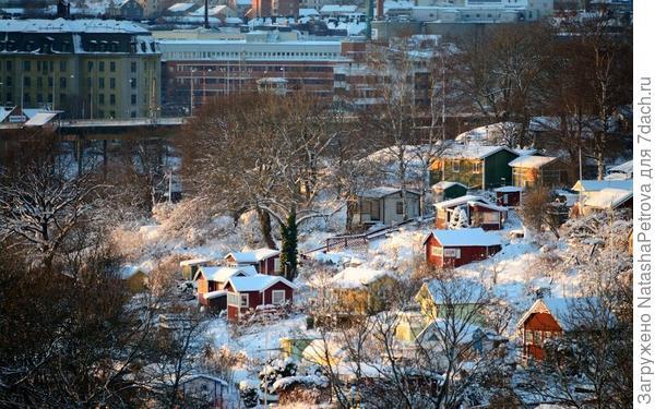 Зимняя панорама дач в садоводсте Tanto Södra, Стокгольм. Фото с сайта http://www.panoramio.com