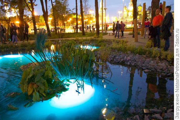 Подсветка объектов в парке. Фото с сайта stroi.mos.ru