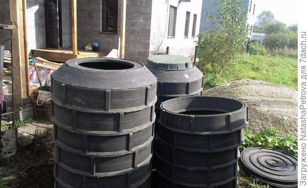 Полимер-песчаные сборные кольца. Фото с сайта http://okanalizacii.ru