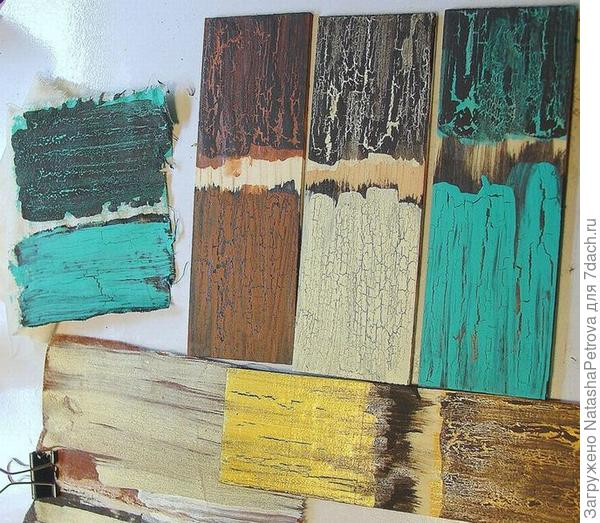 Варианты использования разных цветов основы и финиша в сочетании с кракелюрами. Фото с сайта http://www.toolgirl.com
