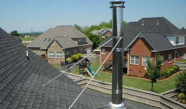 Высокая дымовая труба должна быть надёжно зафиксирована. Фото с сайта http://trubamaster.ru